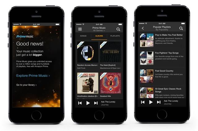 Giao diện của dịch vụ Prime Music trên di động