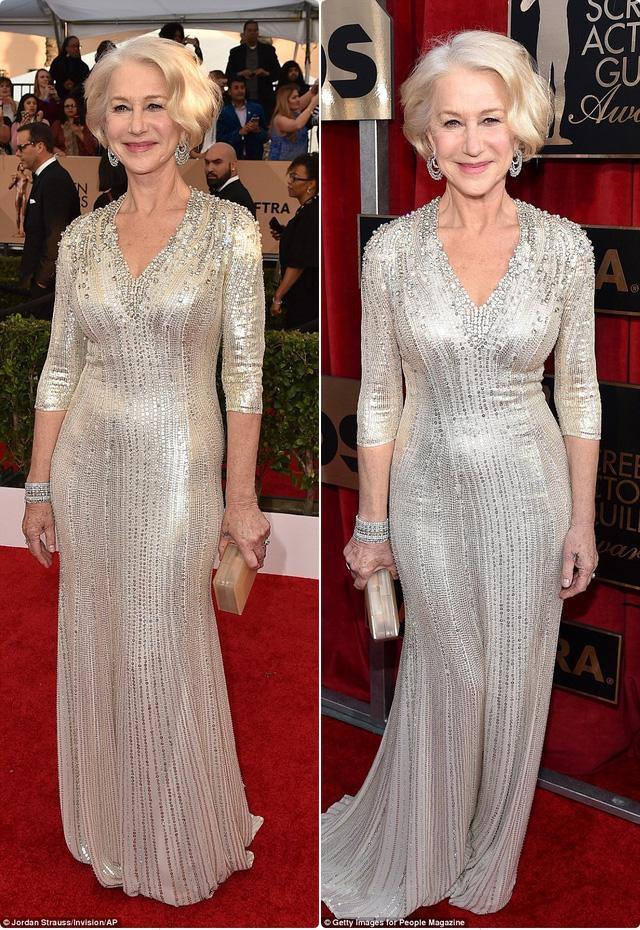 Helen Mirren mặc đầm đính sequin màu bạc của Jenny Packham