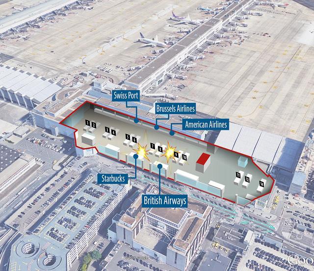 Vị trí hai vụ nổ ở sân bay Brussels, Bỉ.