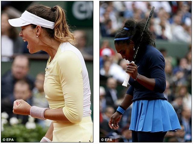 Cảm xúc trái ngược của 2 tay vợt trong trận chung kết đơn nữ Pháp mở rộng 2016. Ảnh: EPA