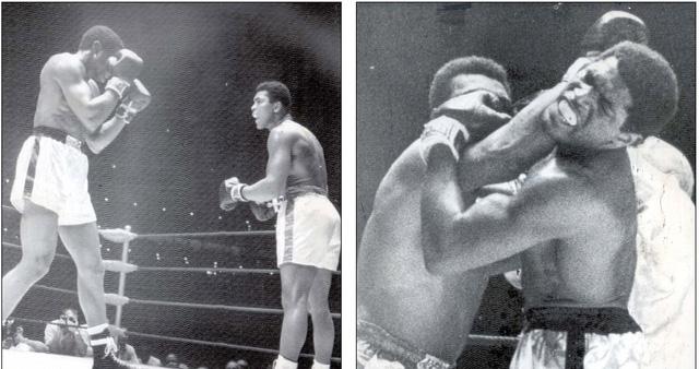 """Lần thứ 8 Ali bảo vệ chức vô địch thế giới là gặp Ernie Terrell tháng 2/1967. Trong cuộc đấu khẩu trước trận, Terrell đã bỡn cợt gọi Ali bằng tên khai sinh """"Cassius Clay"""". Chi tiết thú vị là trong trận đấu kéo dài 15 hiệp với Terrell, Ali đã có lúc vừa ra đòn vừa gằn giọng hỏi lại Terrell: Tên tôi là gì hả?. Ảnh: AP"""