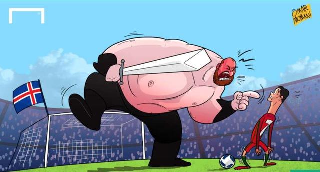 Ronaldo tắt điện trước những cầu thủ có thể hình cao to của ĐT Iceland.