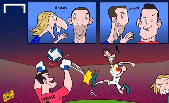Modric và thông điệp bí mật giúp Subasic đánh bại Ramos trên chấm phạt đền.
