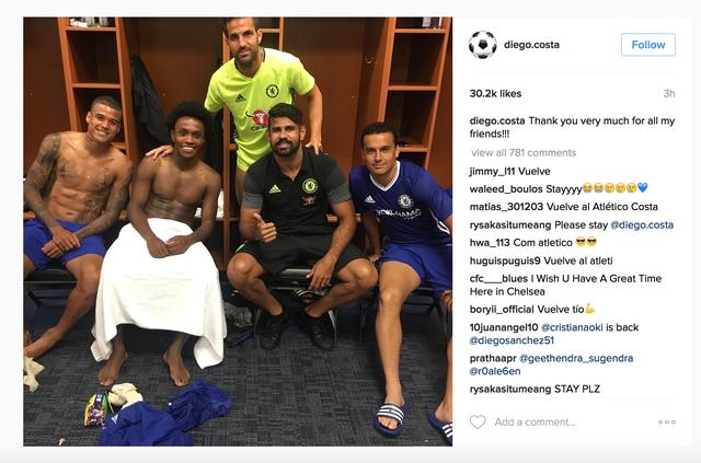 Người hâm mộ đặt câu hỏi khi thấy Diego Costa cảm ơn những người đồng đội của mình.