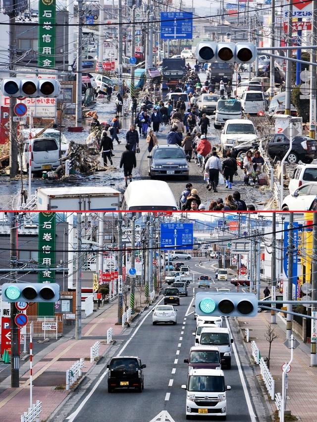 Thành phố Ishinomaki, quận Miyagi, Nhật Bản ngày 13/3/2011 (trên) và cùng khung cảnh đó vào ngày 26/2/2016 (dưới) - Ảnh: EPA