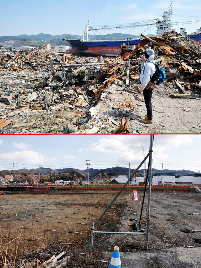Cô Yumiko Ogata (46 tuổi) quay trở lại tìm kiếm mẹ là bà Seiko Sato (68 tuổi) sau thảm họa sóng thần tại khu Shikaori thuộc thành phố cảng Kesennuma, quận Miyagi ngày 15/4/2011 (trên) và cùng khung cảnh đó vào ngày 27/2/2016 (dưới) - Ảnh: EPA