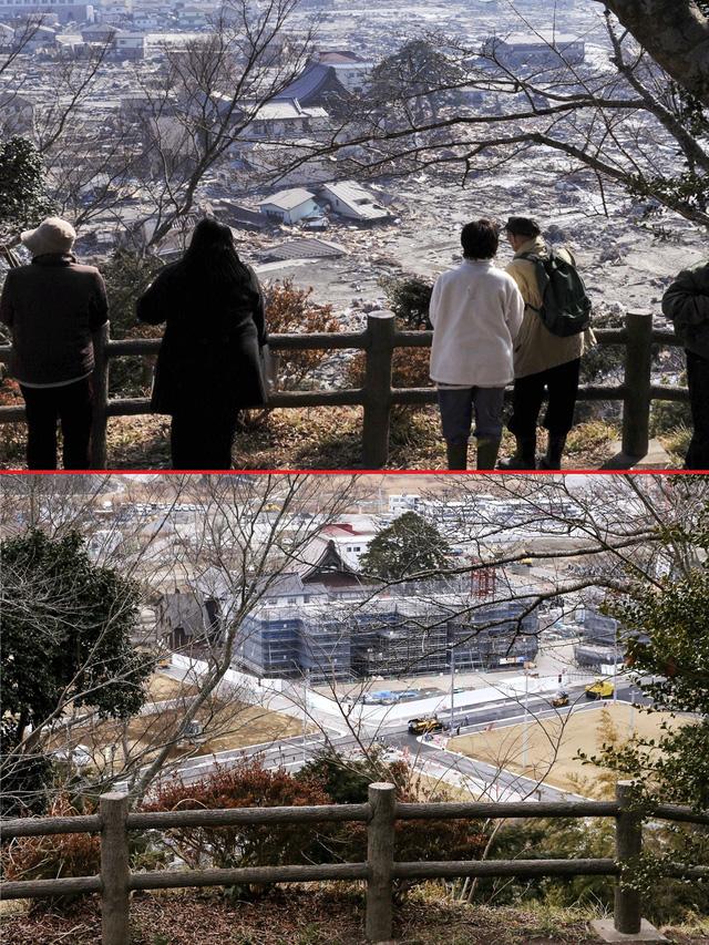Những người sống sót sau trận sóng thần nhìn lại những tàn dư của thành phố Ishinomaki, quận Miyagi ngày 13/3/2011 (trên) và khung cảnh tương tự sau đó 5 năm, vào ngày 27/2/2016 (dưới) - Ảnh: EPA