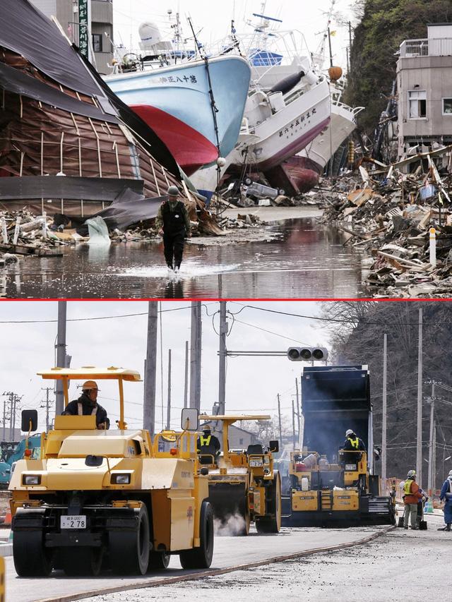 Những con tàu đánh cá lớn bị sóng đánh dạt vào bờ tại khu Shishiori của thành phố cảng Kesennuma, quận Miyagi ngày 28/4/2011 (trên) và cảnh khu vực này được xây dựng lại sau 5 năm, vào ngày 27/2/2016 (dưới) - Ảnh: EPA