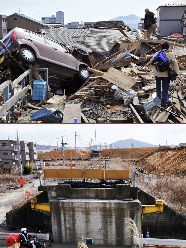 Một cặp vợ chồng lớn tuổi đang trèo qua các mảnh vỡ để tìm đến ngôi nhà của họ bị vùi dập trong đống đổ nát sau trận sóng thần tại thành phố cảng Kesennuma, quận Miyagi ngày 14/3/2011 (trên) và khung cảnh khu vực đó sau 5 năm, vào ngày 27/2/2016 (dưới) - Ảnh: EPA