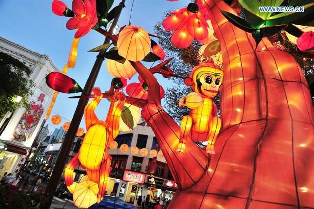 Khu Chinatown ở Singapore được trang trí với nhiều hình ảnh của con giáp năm Bính Thân 2016. Ảnh: Xinhua)