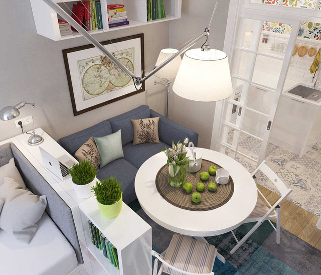 Nhà thiết kế tạo không gian mở cho căn nhà với gam màu sáng, giúp người ở không có cảm giác bức bí bởi diện tích nhỏ hẹp.