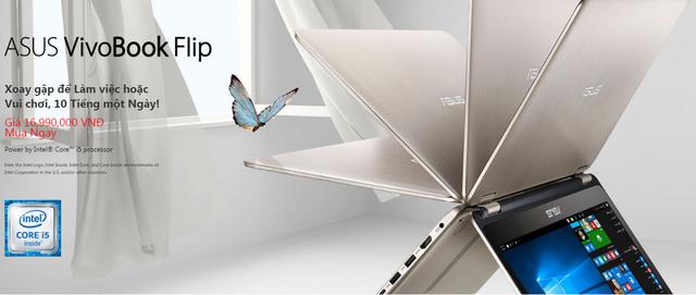 ASUS VivoBook Flip TP301UA có khả năng xoay gập 360°