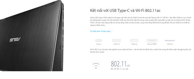 VivoBook Flip TP301UA được trang bị kết nối USB Type C 3.1 và Wi-Fi 802.11ac