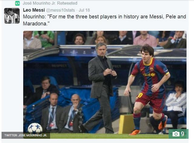 Con trai Mourinho dường như khá thích thú với việc ông bố nổi tiếng không nói gì đến C.Ronaldo trong khi lại ca ngợi Messi.