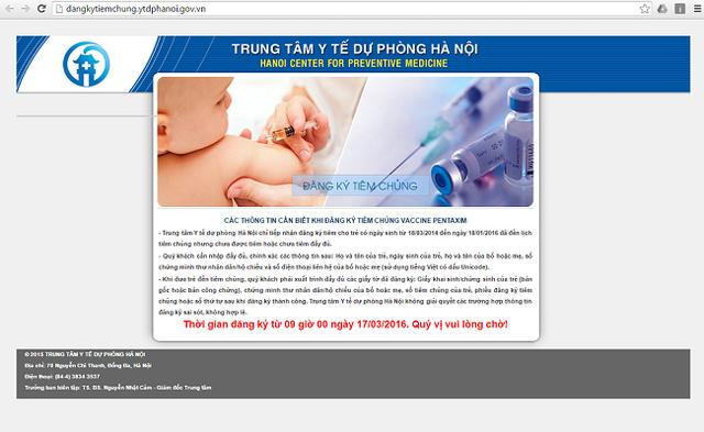 Trang web đăng kí tiêm chủng trực tuyến sẽ mở cửa từ 9h sáng ngày 17/3/2016