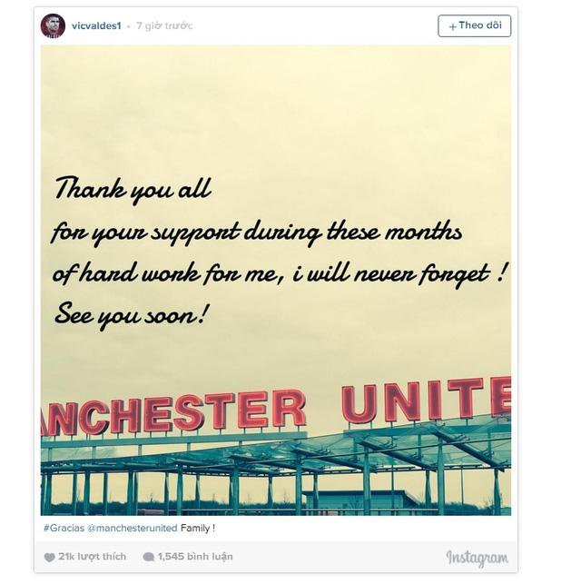 Valdes gửi lời tạm biệt với Man Utd