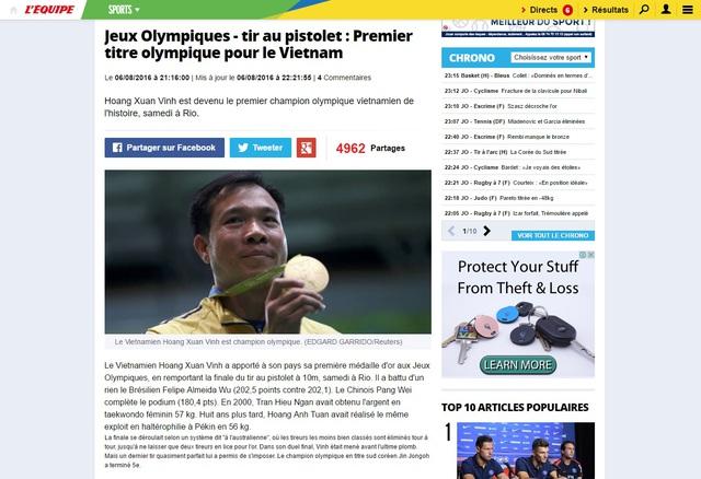 Bài viết về Hoàng Xuân Vinh trên báo LEsquipe của Pháp