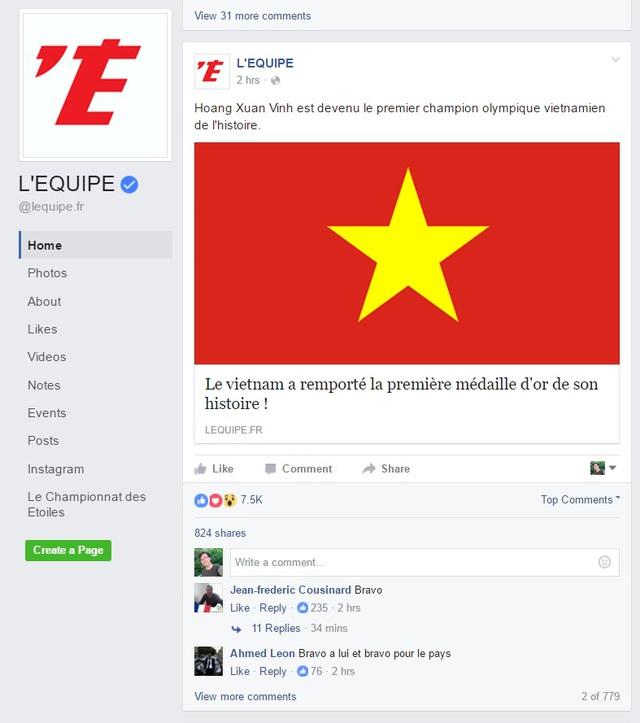 Hàng ngàn lượt like cho bài viết về Hoàng Xuân Vinh trên fanpage LÉquipe