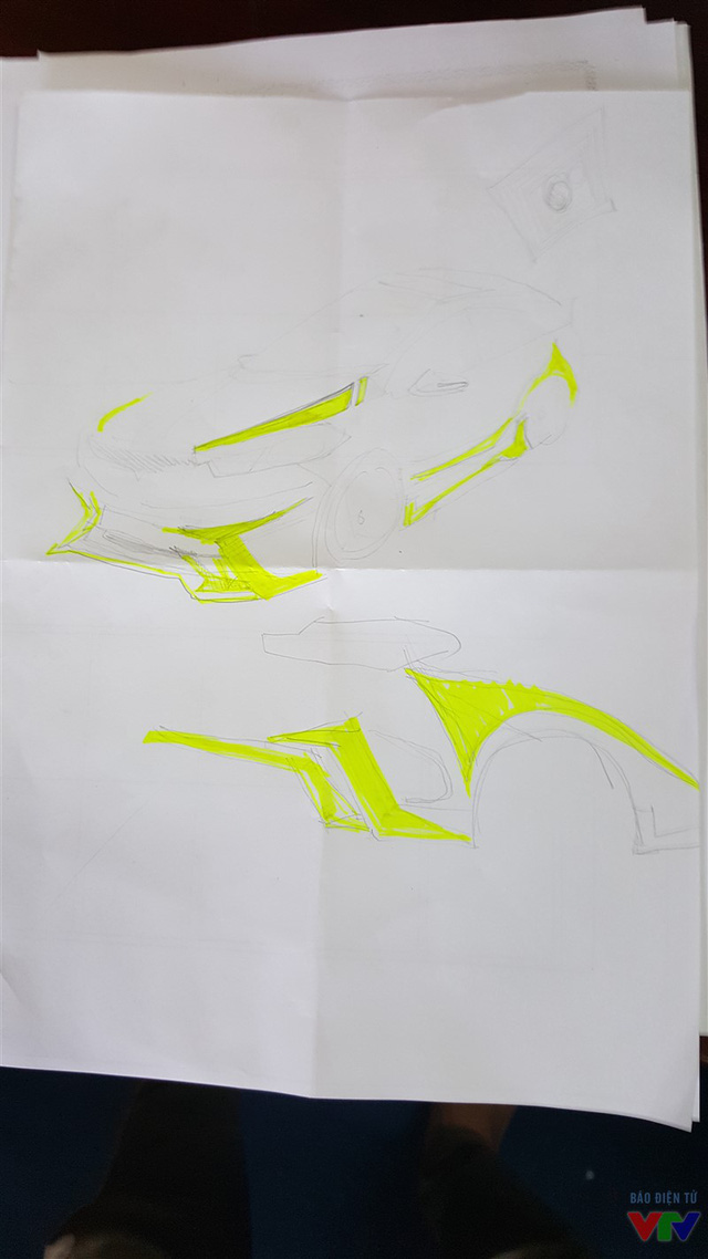 Bản phác họa các chi tiết độ và màu sơn cho chiếc K3 của anh Lâm Vũ (Ảnh: NVCC)