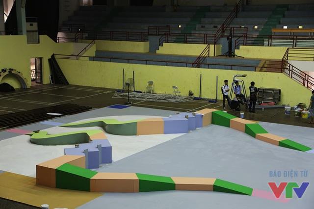 Sân thi đấu được thi công theo đúng tiêu chuẩn của ABU Robocon 2016
