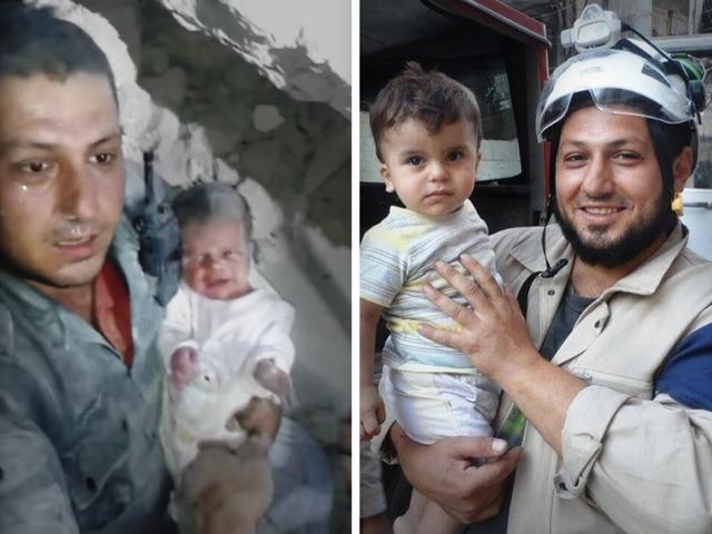 Khaled Omar và cậu bé được cứu sống lúc 10 ngày tuổi (ảnh trái) và cuộc gặp vài tháng sau khi cậu bé thoát khỏi nguy hiểm (ảnh phải). Ảnh: The White Helmets