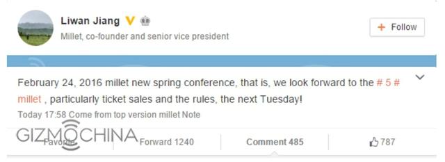 Nhà đồng sáng lập Xiaomi thông báo về lịch ra mắt chiếc Mi 5