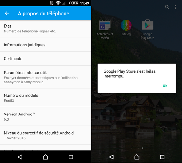 Thông báo hiển thị trên Xperia Z5 sau khi cập nhật Android 6.0 Marshmallow
