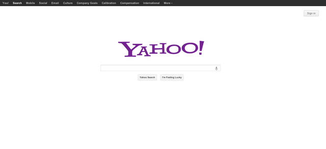 Giao diện công cụ tìm kiếm của Yahoo!