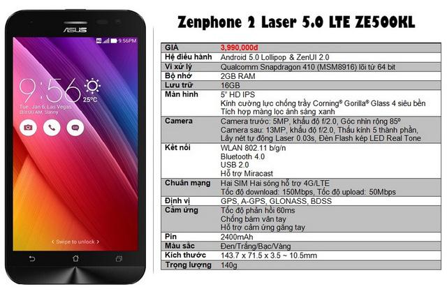 Thông số kỹ thuật của Zenfone 2 Laser 5.0 LTE
