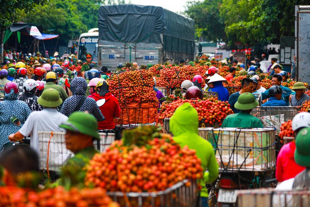 Lục Ngạn (Bắc Giang) mùa vải chín: Phiên chợ rực rỡ sắc đỏ - Ảnh 1.