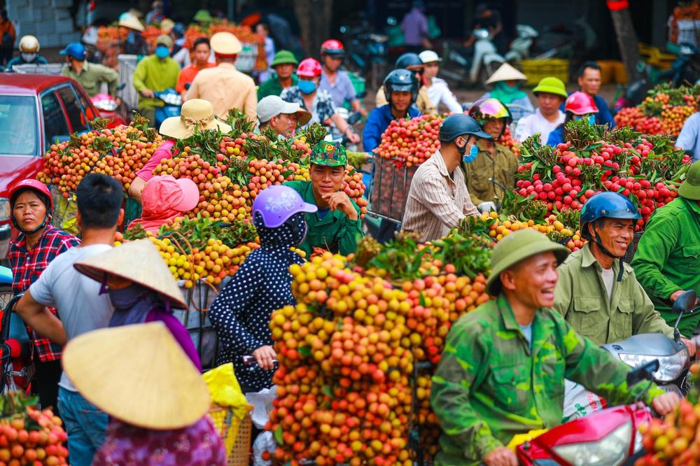 Lục Ngạn (Bắc Giang) mùa vải chín: Phiên chợ rực rỡ sắc đỏ - Ảnh 2.