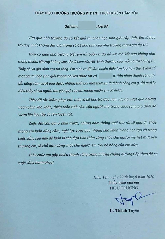 Thầy Hiệu trưởng gây sốt với bức thư gửi nữ sinh trượt giải học sinh giỏi - Ảnh 2.