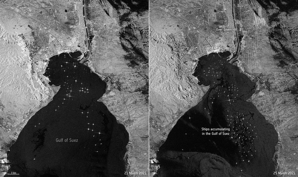 Ảnh vệ tinh cho thấy hàng trăm con tàu trôi nổi chờ đợi trên kênh đào Suez - Ảnh 4.