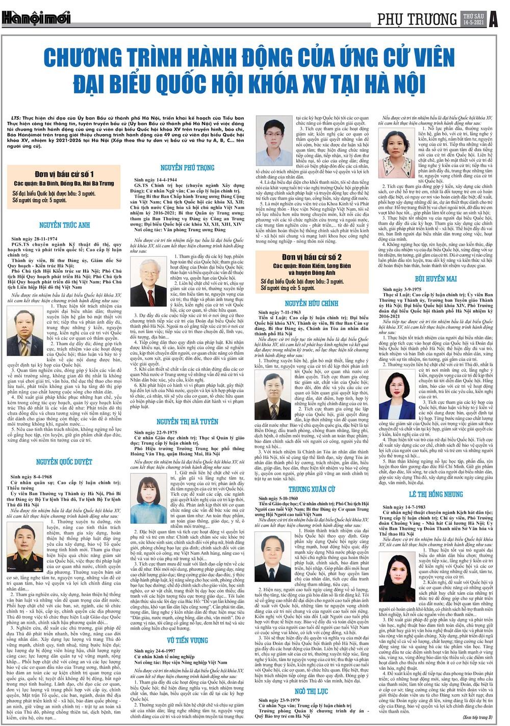 Chương trình hành động của các ứng cử viên đại biểu Quốc hội khóa XV tại Hà Nội - Ảnh 1.