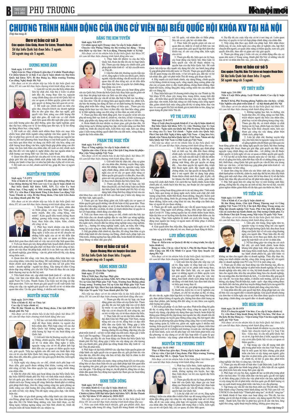 Chương trình hành động của các ứng cử viên đại biểu Quốc hội khóa XV tại Hà Nội - Ảnh 2.