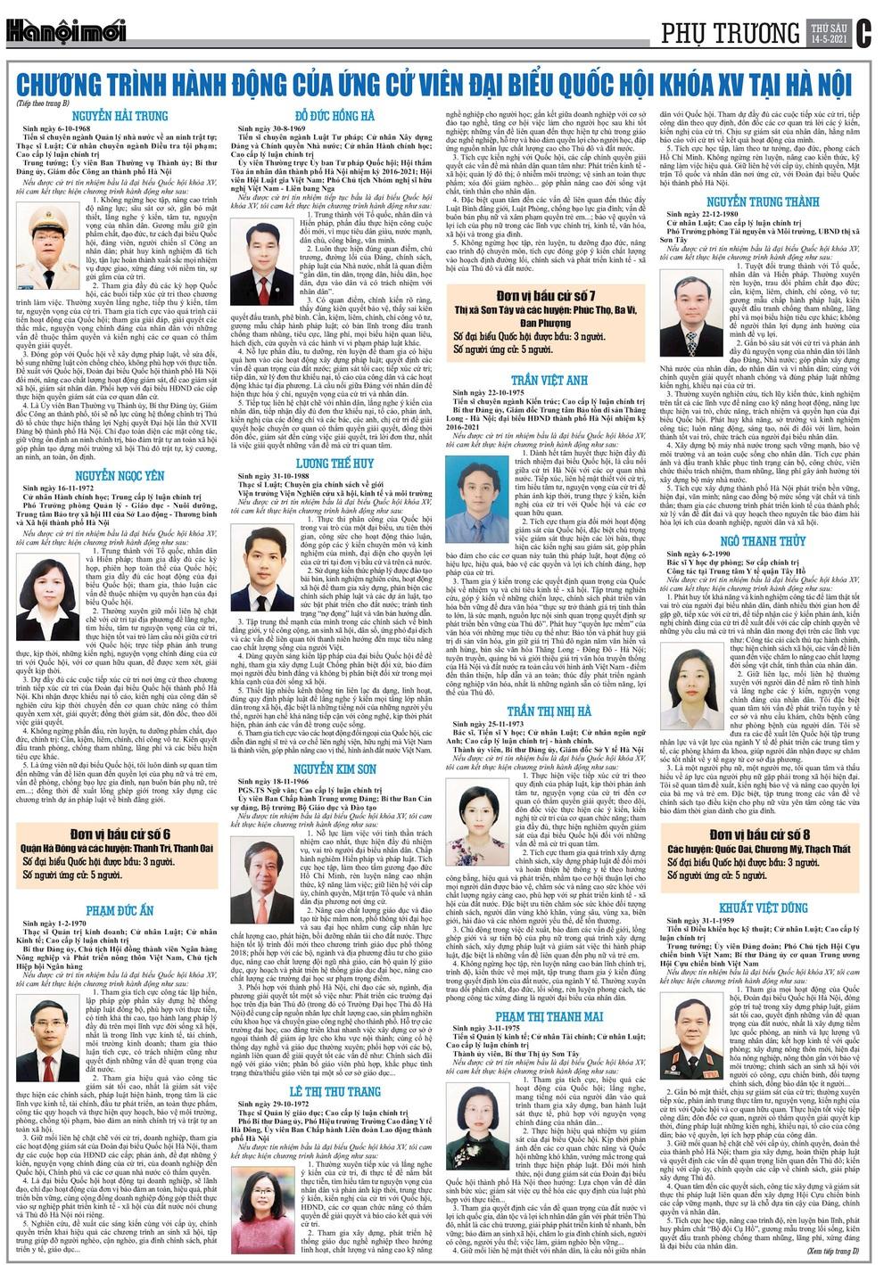 Chương trình hành động của các ứng cử viên đại biểu Quốc hội khóa XV tại Hà Nội - Ảnh 3.