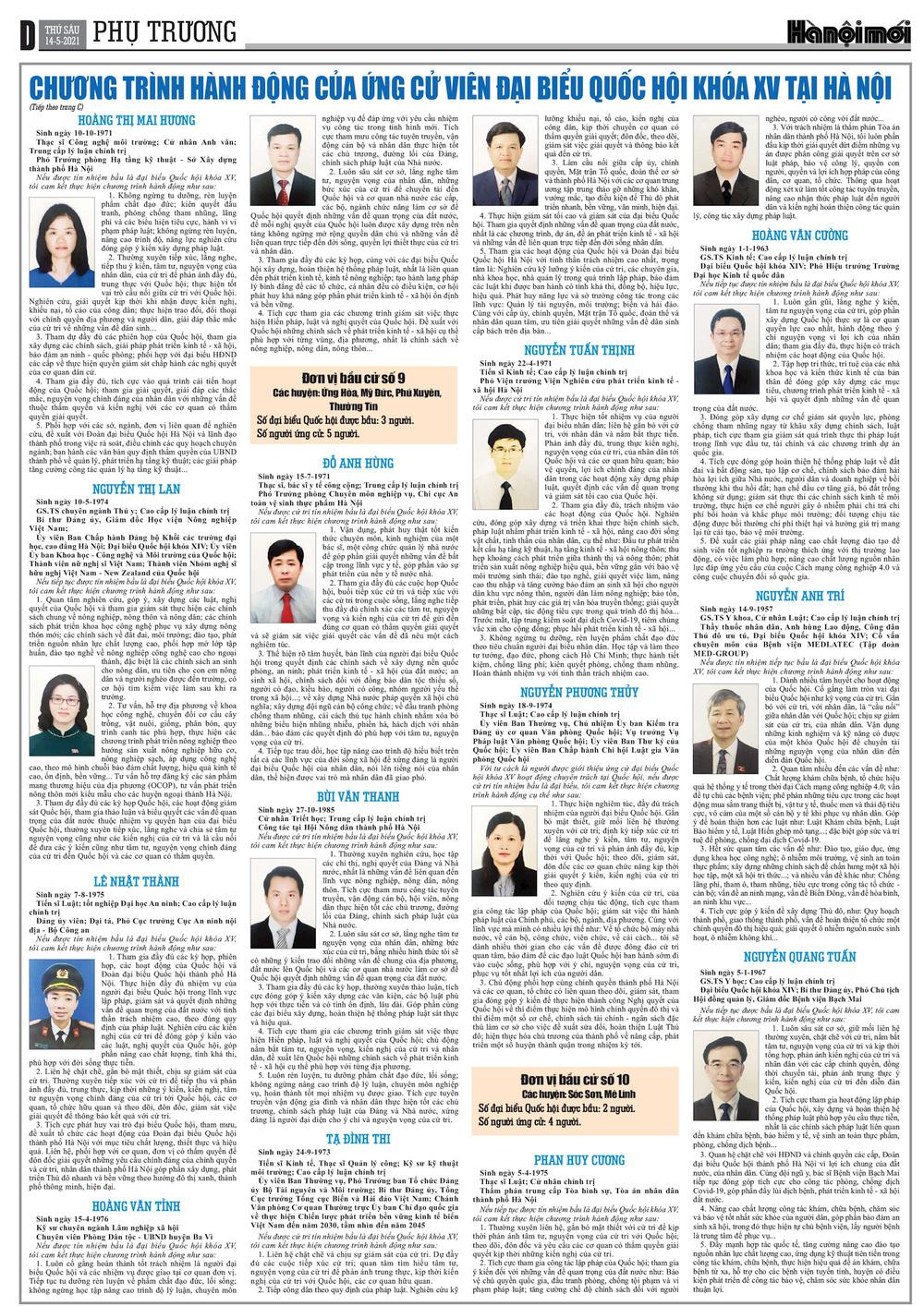 Chương trình hành động của các ứng cử viên đại biểu Quốc hội khóa XV tại Hà Nội - Ảnh 4.