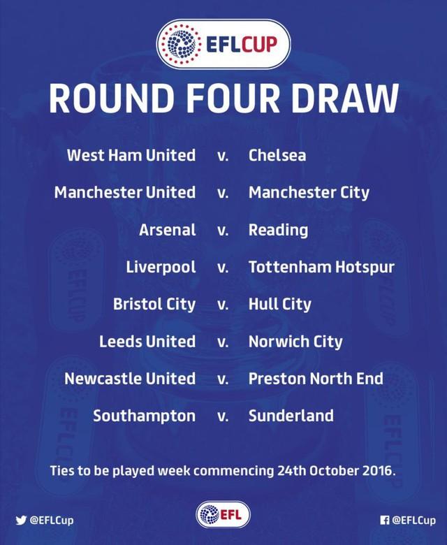Bốc thăm vòng 4 League Cup: Hàng loạt đại chiến, trong đó có derby Manchester! - Ảnh 2.