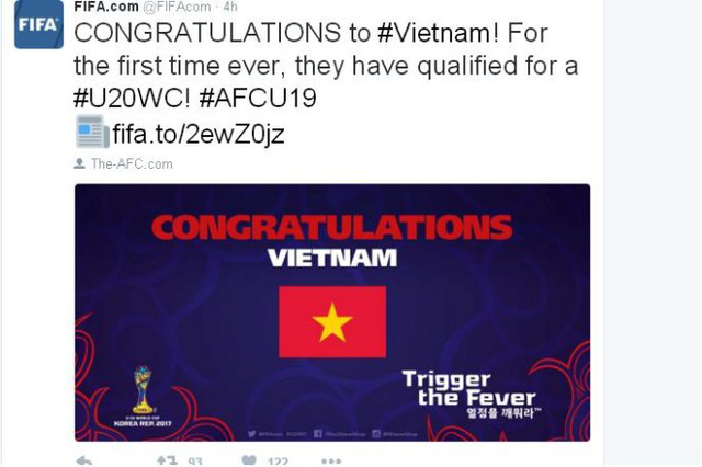 Liên đoàn bóng đá thế giới FIFA chúc mừng chiến tích của U19 Việt Nam - Ảnh 1.