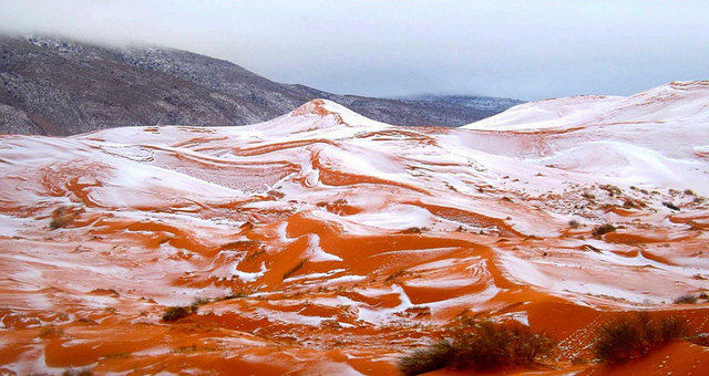 Chuyện thật khó tin: Tuyết rơi ở sa mạc Sahara - Ảnh 1.