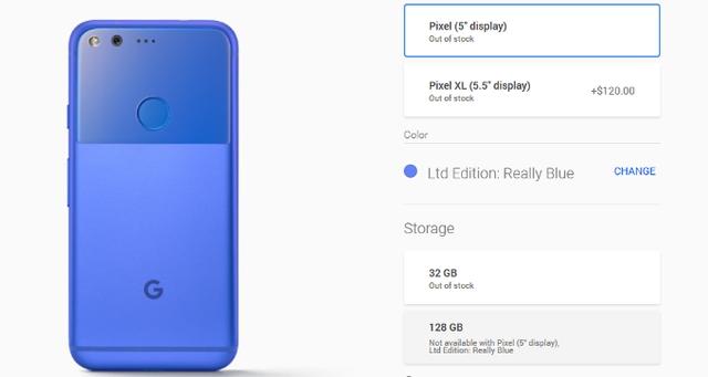 """Google Pixel XL phiên bản 128GB đã """"cháy hàng"""" trên Google Store - Ảnh 1."""