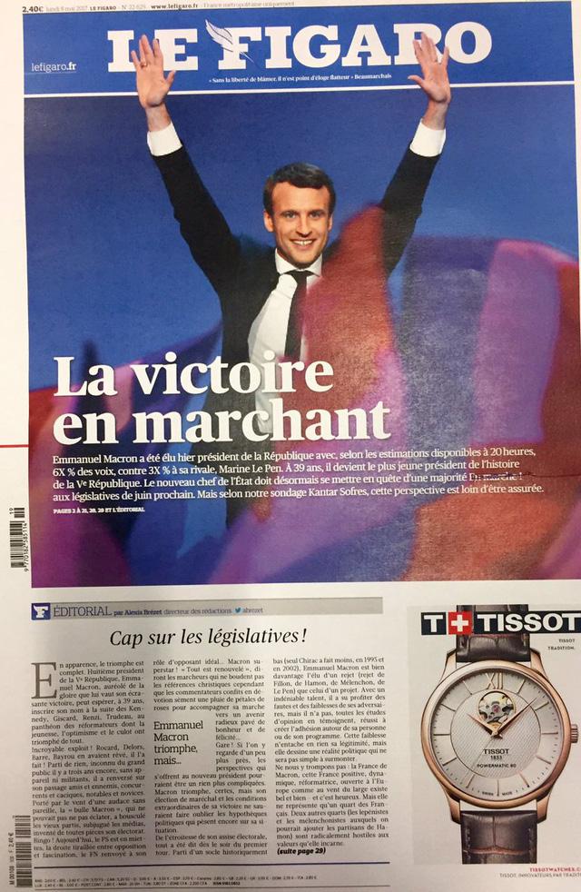 Chiến thắng của tân Tổng thống Pháp tràn ngập trang nhất báo chí châu Âu - Ảnh 4.