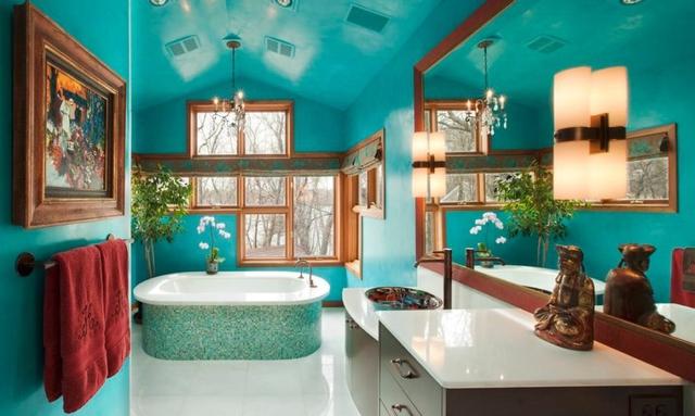 Thích thú với những mẫu phòng tắm ngập sắc màu - Ảnh 3.