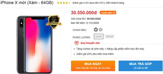 iPhone X tụt giá không phanh, chạm mốc 30 triệu đồng - Ảnh 1.