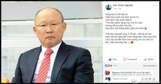 MC Thanh Vân Hugo làm thơ tặng HLV Park Hang-Seo, cổ vũ đội tuyển U23 Việt Nam - Ảnh 1.
