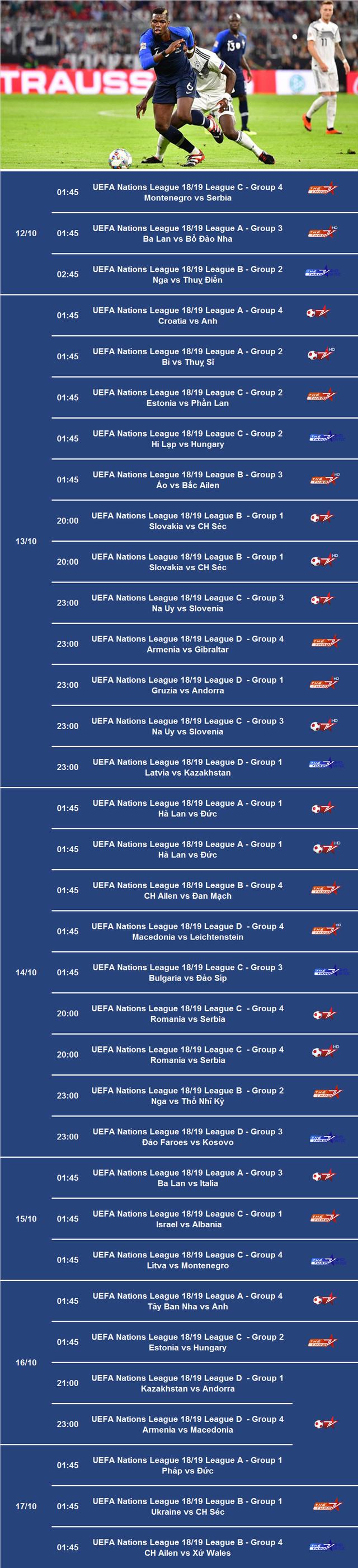 Lịch tường thuật trực tiếp bóng đá UEFA Nations League trên VTVcab từ 12/10 – 17/10 - Ảnh 2.