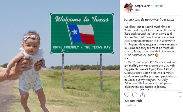 Kỷ lục thế giới: bé gái 5 tháng tuổi đi du lịch hết 50 tiểu bang nước Mỹ - Ảnh 3.