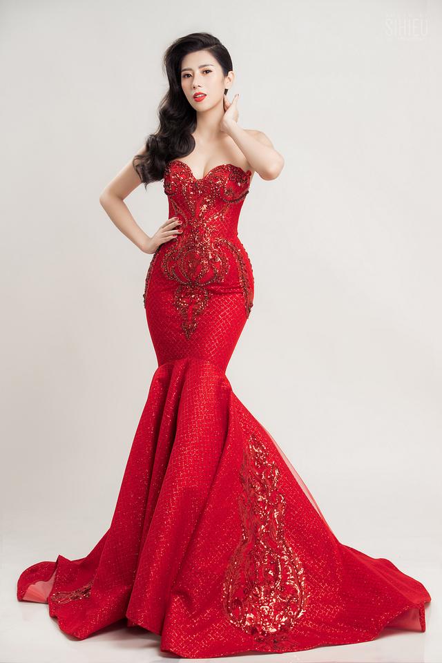 Á khôi Dương Yến Nhung diện đầm đỏ khoe vẻ gợi cảm trong bộ ảnh mới - ảnh 5