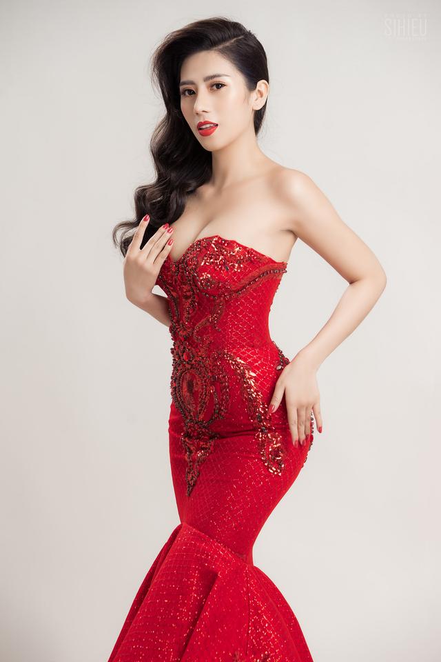 Á khôi Dương Yến Nhung diện đầm đỏ khoe vẻ gợi cảm trong bộ ảnh mới - ảnh 4