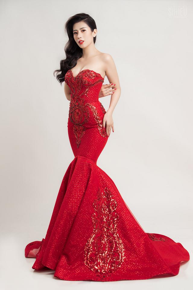 Á khôi Dương Yến Nhung diện đầm đỏ khoe vẻ gợi cảm trong bộ ảnh mới - ảnh 6